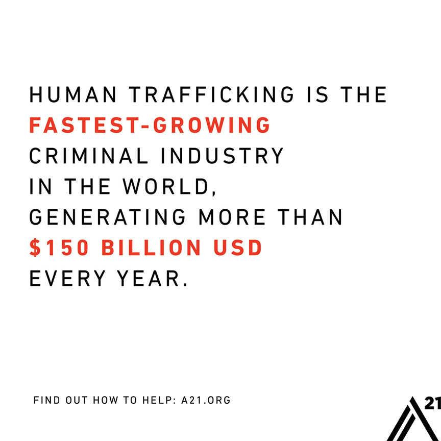 Human Trafficking is the fastest growing criminal industry in the world.
