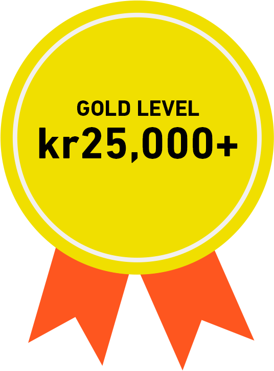 Gold Level: kr25,000+