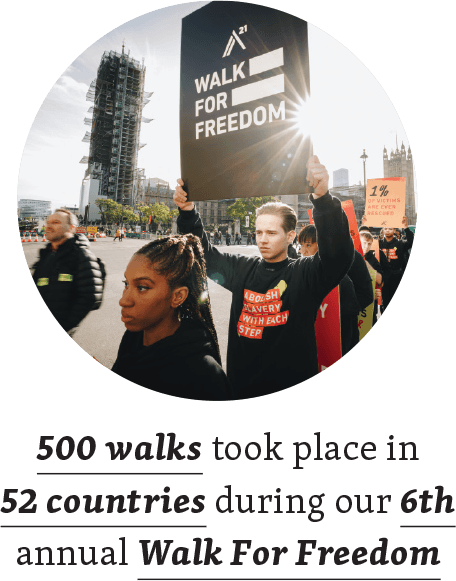 500 walks took place in 52 countries during our 6th annual Walk For Freedom