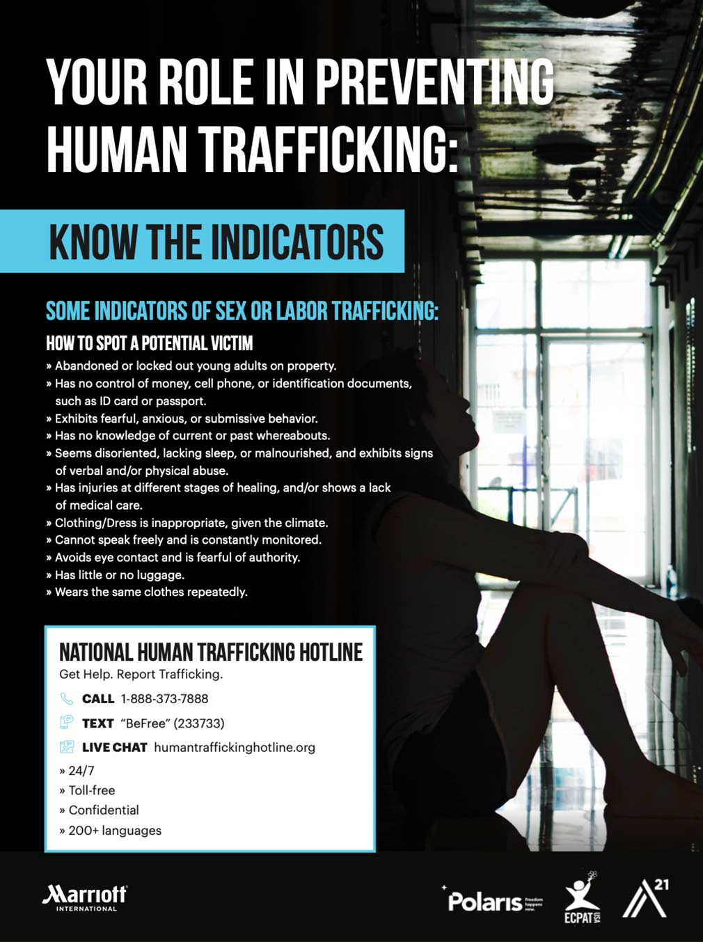 human trafficking: know the indicators, see the signs poster