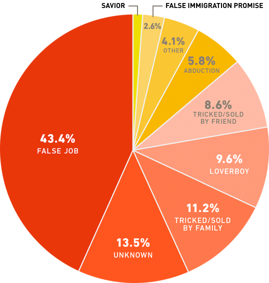 Pie chart of human trafficking statistics: methods of how they're trafficked