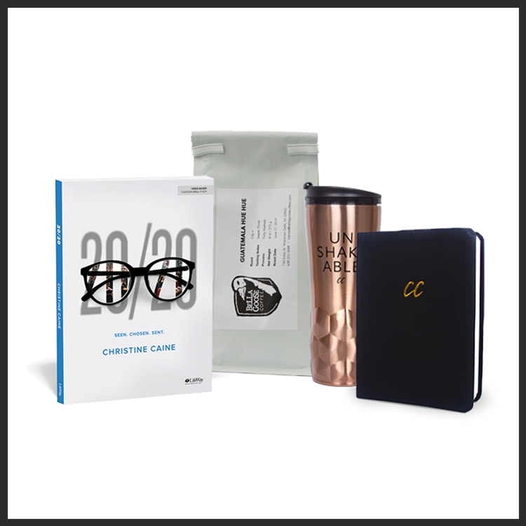 The 20/20 Vision Bundle: 7-Session Bible Study Book 20/20, Leather Scripture Journal, Liberator Coffee Blend, Rose Gold Unshakeable Tumbler