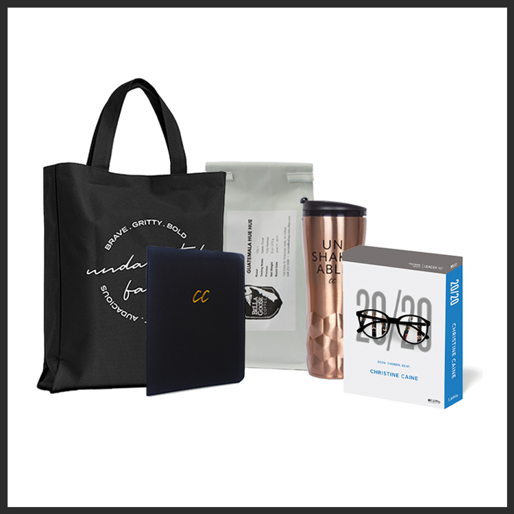 Lift Your Eyes 20/20 Bundle: Two-Disc DVD: featuring 7 Teaching Sessions, Digital Copy of Video Teachings, Digital-PDF of Workbook, Free Access to WORDsearch Bible Platform, Embossed-Leather Scripture Journal, Liberator Coffee Blend, Rose Gold Unshakeable Tumbler, The Undaunted Faith Tote Bag