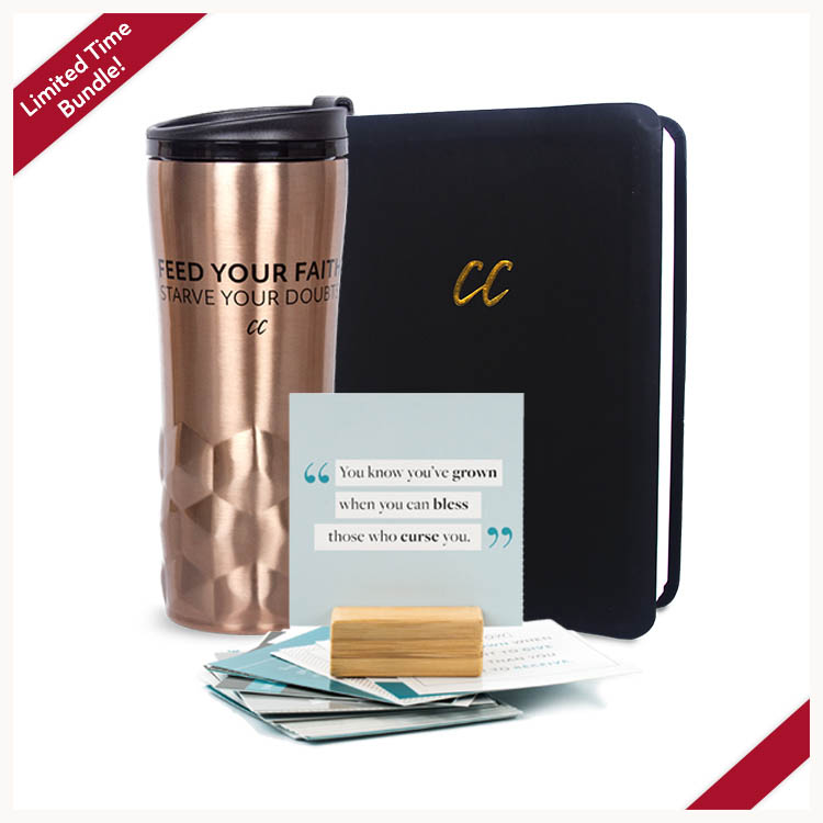 Lifestyle Bundle: Copper mug, black CC journal, Spiritual Growth Spurts cards & stand.